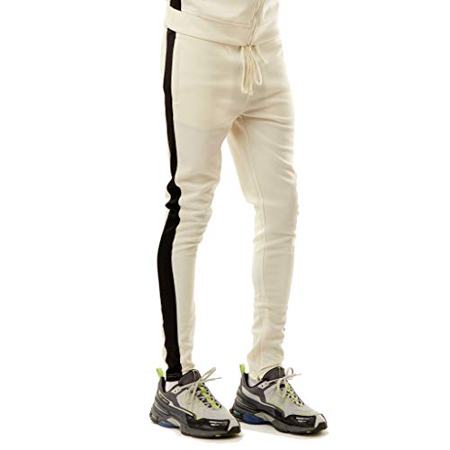 Rebel Minds Track Pants (Cream/Black, S)