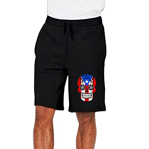 Puerto Rico Pr Flag Men's Active Sports Shorts Athletic Performance Jogger Running Sweatpants with Elastic Waist & Pockets Xx-Large Black