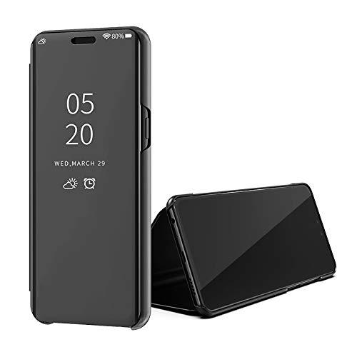 SWMGO® Espejo Enchapado Flip Funda para Samsung Galaxy A70 (Negro)