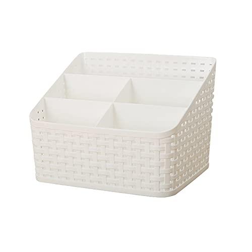 Caja Clasificación Versátil, Caja Organizadora Plástico Escritorio, Almacenamiento Maquillaje, Caja Almacenamiento Cosméticos, para Escritorio, Oficina, Dormitorio, Encimera, Blanco