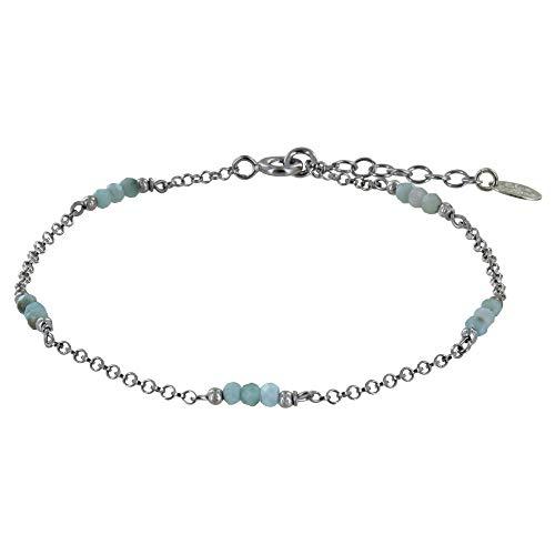 Schmuck Les Poulettes - Rhodium Silber Armband Fünfzehn Kleine Larimar Facetten Perlen