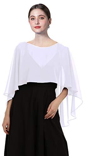 Wedding Capes Womens Soft Chiffon Shrug Bridal Long Shawl and Wraps, White, Free Size