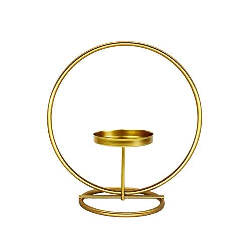 K-MANYU Candelabro geométrico de Hierro de Metal de Estilo nórdico candelabro decoración del hogar Cena a la luz candelabros de Vidrio Transparente para Velas flotantes