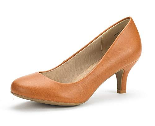 DREAM PAIRS Women's Luvly Tan Pu Bridal Wedding Low Heel Pump Shoes - 6.5 M US