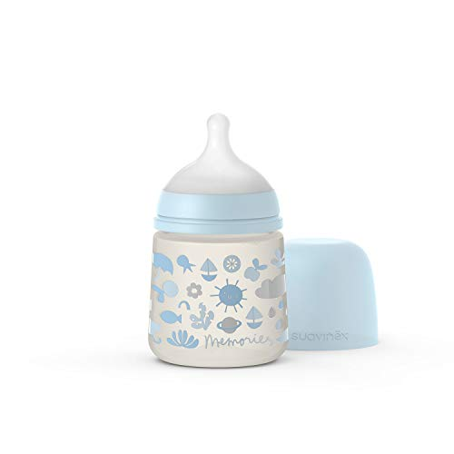 Suavinex Biberon con Tettarella Simmetrica SX Pro in Silicone a Flusso Lento, per Bambini di Età Superiore a 0 Mesi, 150 ml, blu