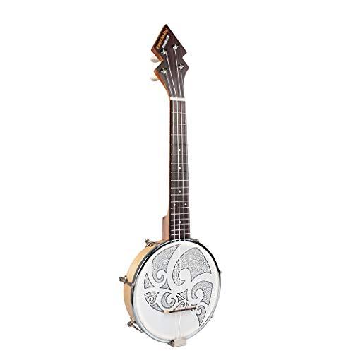 JJmooer 26 pulgadas Banjo Banjolele Ukelele 4 cuerdas chapada en la vendimia con bolsa de transporte Sintonizador electrónico