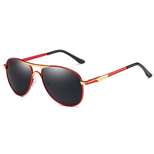 Sunglasses Gafas De Sol Polarizadas Vintage para Hombre, Gafas De Piloto, Gafas De Sol De Conducción Negras Ovaladas De Moda Retro para Hombre, Montura Metálica C1Redgold