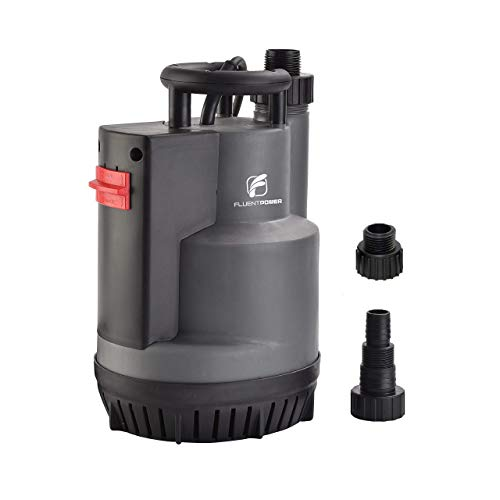FLUENTPOWER 1/2 HP Submersible Pump, 2200 GPH Portable Electric Water Removal Pump with Switchable Auto/Manual Modes for Water Transfer, with 3/4' Garden Hose Adapter and NPT 1' Hose Connection