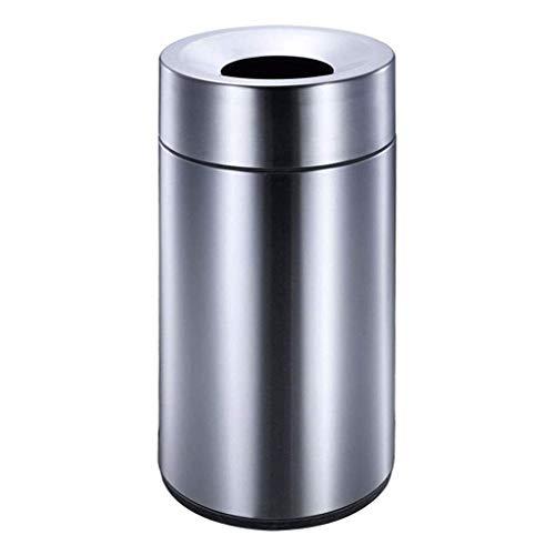 Nueva papelera de reciclaje de basura / papelera comercial abierta de acero inoxidable de calibre pesado bote de basura grande de acero inoxidable cepillado bote de basura redondo para centros comerci