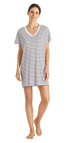 Hanro Damen Laura 1/2 Arm 85 cm Nachthemd, Mehrfarbig (Dark Blue Stripe 1609), 44 (Herstellergröße: M)