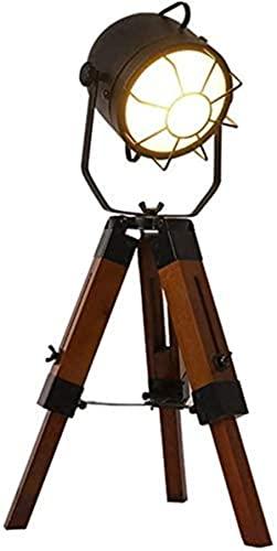 Lámpara de mesa Retro Simple Estilo Industrial Personalidad Arte de madera de tres patas Arte LED Lámpara de escritorio Dormitorio Sala de estar Estudio Decoración Lectura Iluminación