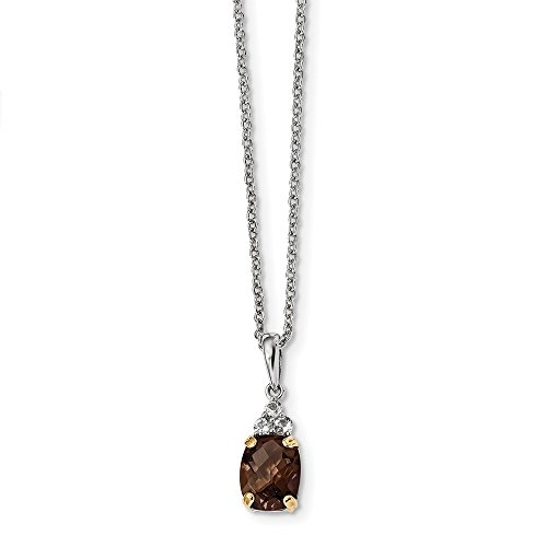 925 Sterling Silver 14k Smoky Quartz White Topaz Chain Necklace Pendant Charm Gemstone Fine Jewelry For Women Gifts For Her