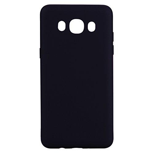 MEVIS Funda Samsung Galaxy J510 J5 2016 Carcasa Silicona Suave Gel TPU Case + (1*Cristal Templado) Luxury Flexible Ultra Ligero Mate Goma Blando Cubierta Ultra Thin Anti-Scratch Cover-Negro