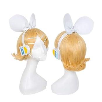 DIOCOS VOCALOID Kagamine Rin Kagamine Len Cosplay Wigs With Headwear One Size B