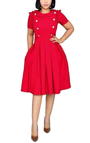 OLUOLIN Women's Long Sleeve Bodycon Dress - Elegant Business Suits Tie Neck Peplum Pencil Dress Red