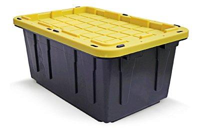 CREATIVE PLASTIC CONCEPTS LLC CPC17GTOUGH Tough Box Tote, Black & Yellow, 17-Gallons - Quantity 6