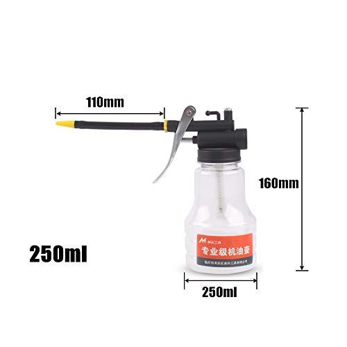 MOC Aceitera de plástico de mano, bomba de aceite, herramienta para latas, boquilla recta y flexible (250 ml, plástico de 110 mm)