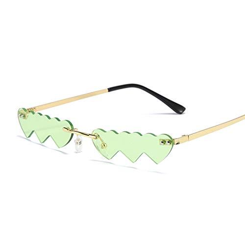 FDNFG Vintage sin Borde Amor corazón Gafas de Sol Mujeres Moda de Lujo pequeño Gafas de Sol Hembra Retro Punk Azul Rosa Espejo Gafas de Sol (Lenses Color : Gold Green)