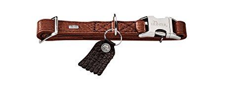 HUNTER CODY ALU-STRONG Halsung, Hundehalsband mit Aluminium Steckverschluss, Leder, rustikal, weich, L, cognac