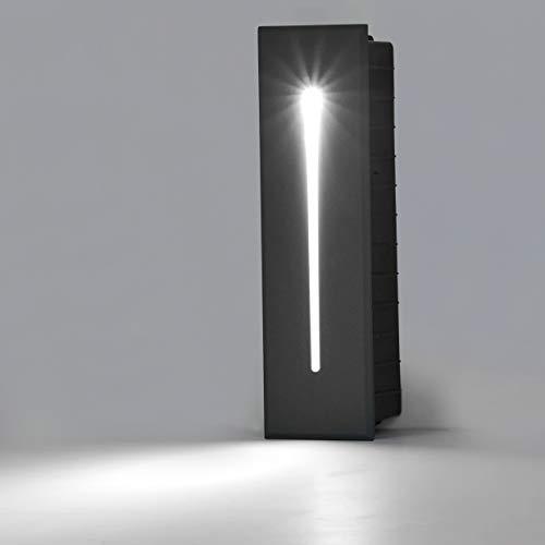 Topmo-plus iluminacion escalera empotrables Lámpara Interior / Exterior Foco de pared Incrustado / 3W Cree LED COB / Lámparas LED Paso calzada Cubierta de escalera IP65 21 CM antracita / blanco frío