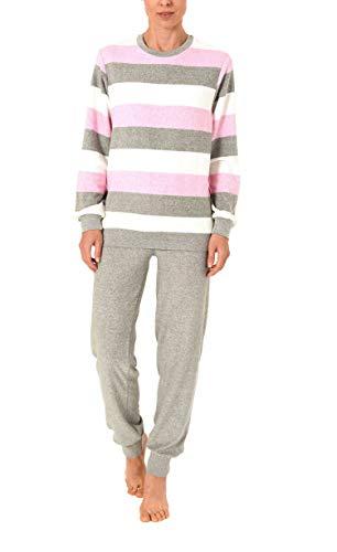 Creative by Normann Damen Frottee Pyjama lang mit Bündchen in Einer tollen Streifenoptik - 62054, Größe2:44/46, Farbe:rosa