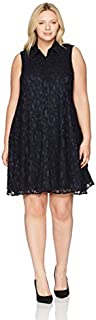 Sharagano Women's Plus Size Lace Trapeze Dress