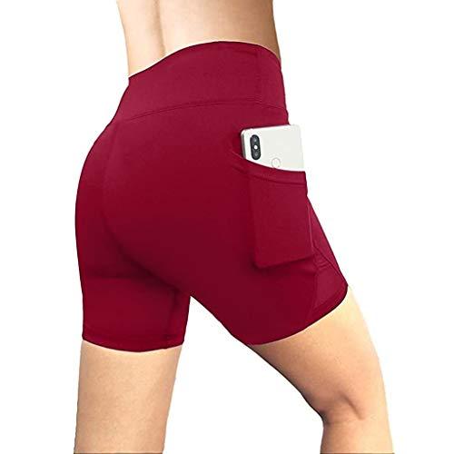 Andouy Damen Sport Leggins Hohe Taille 3/4 Yogahose Blickdichte Laufhos Fitness Shorts Jogginghose mit Taschen(2XL.Wein)