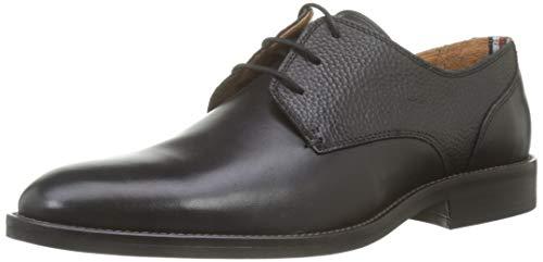 Tommy Hilfiger Essential Leather Mix Shoe, Scarpe Stringate Oxford Uomo, Nero (Black 990), 43 EU