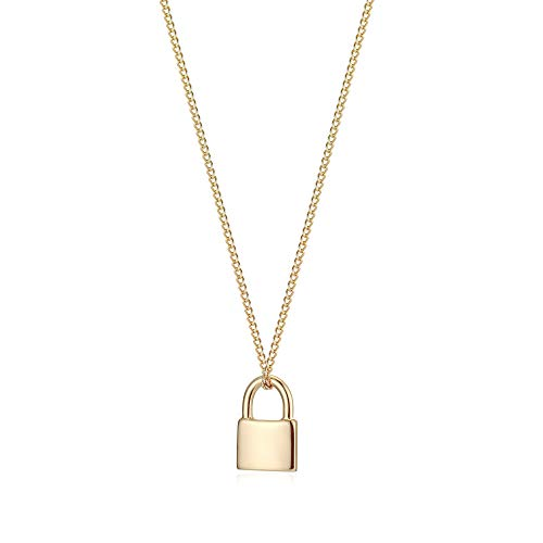 Dainty Lock Pendant Necklace 14K Gold Plated Padlock Heart Chain Necklace Delicate Cubic Zirconia Shell/Triangle/Flower Pendant Necklace For Women (Lock)