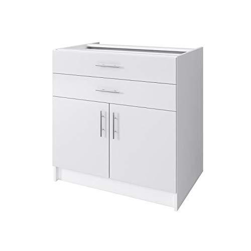 OBI Caisson bas de cuisine avec 2 portes. 2 tiroirs L 80 cm - Blanc et blanc laque brillant
