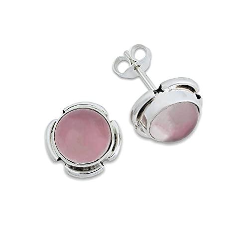 Pendientes de plata 925 con cuarzo rosa (No: MOS 67-07)