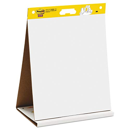 3M Post-it 563R Self Stick Tabletop Easel Unruled Pad, 20 x 23, White, 20 Sheets