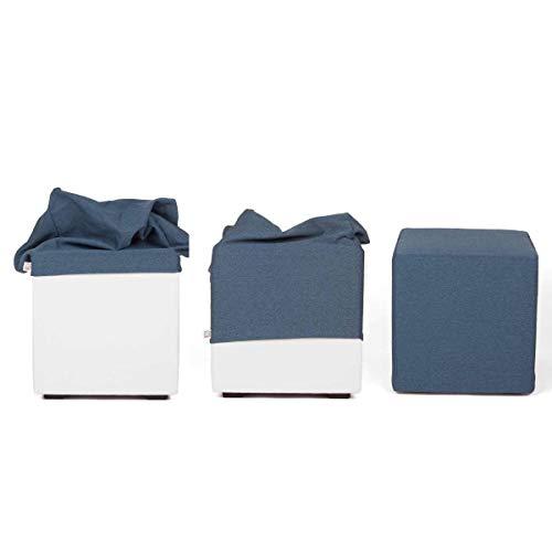 Arketicom Copri pouf poggiapiedi, FODERA Esterna di Rivestimento per Pouff Cubo in Poli Cotone, copripouf poggiapiedi su misura 35 45 50 55 60 80x80 cm adatto anche per pouf sacco
