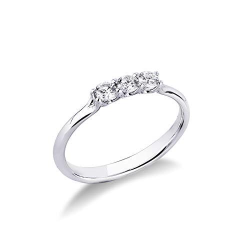 Gioielli di Valenza - Anello Trilogy in Oro bianco 18k con Diamanti ct. 0,30 - TR01030BB - 14