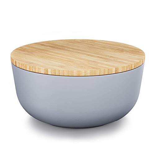 Destyx® Bambus Salatschüssel grau mit Bambusdeckel - 25 cm Durchmesser zur Zubereitung und zum Servieren - Ökologisch aus Holz