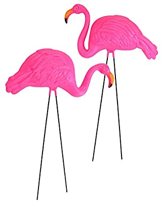 GiftExpress Pack of 2, Large Bright Pink Flamingo Yard Ornament/Flamingo Lawn Ornaments/Ink Flamingo Garden Yard Stakes