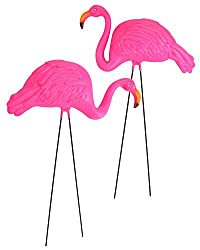 Pink flamingoes to decorate the yard