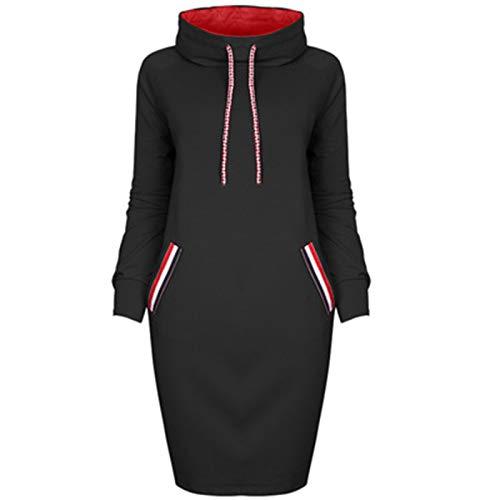 SLYZ Europäische Und Schöne Stil Herbst Und Winter Neue Mehrfarbige High-Neck-Kapuze Langarm Kleidertasche Hüfte All-Match-Kleid Weiblich