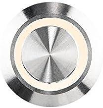 HUBER Led-belknop van roestvrij staal - deurbelknop - huisdeurbel van roestvrij staal - belschakelaar, bel, lichtkleur war...