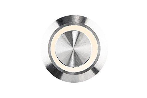 HUBER Pulsante campanello a LED, acciaio inossidabile - interruttore campanello, campanello, colore luce bianco caldo, IP65, rotondo