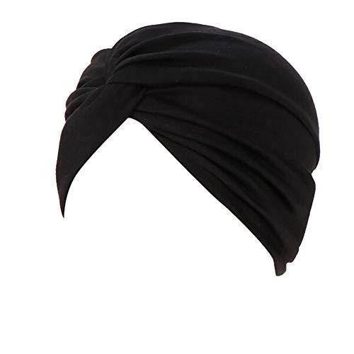 Lazzboy Frauen-Indien-Hut moslemischer Rüsche Beanie-Turban-Wickelkappen-Winter-Hut Damen Turban Kopfbedeckung Fashion in verschiedenen Farben(B)