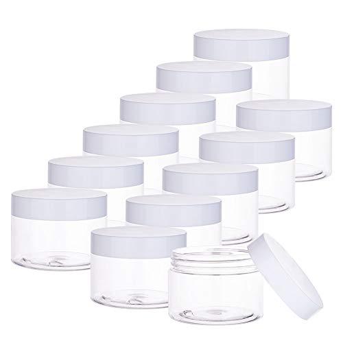 PandaHall 12pcs 120ml vasetti di stoccaggio in vasetto di melma Trasparente con Coperchio Bianco vasetti di Favore riutilizzabili in plastica per Oggetti Artigianali