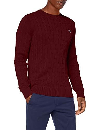 GANT Cotton Cable C-Neck Suéter pulóver, Dk. Mel Burdeos, M para Hombre