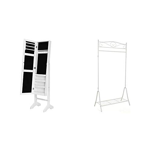SONGMICS Schmuckschrank und Standspiegel zwei in einem, Lederimitat, weiß, 35,5 x 153 x 35 cm & Höhe 173 cm Metall Antik Kleiderständer Kleiderstange Garderobenständer mit Schuhablage,cremeweiß HSR01W