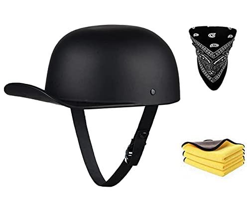 Casco de moto semiabierto para hombre, con certificado ECE, estilo retro, para moto, estilo cruiser, patinete eléctrico, chopper, ciclomotor, gorra (C, XL)