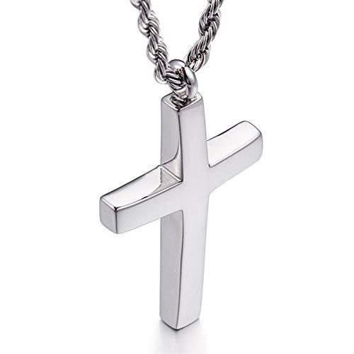 GXju- Furniture Brief Trendy Biegen Kreuz Anhänger Halskette Männer Frauen Unisex Edelstahl Religion Gebet Statement Charm Schmuck (Color : Silver, Size : 27mm*47mm)