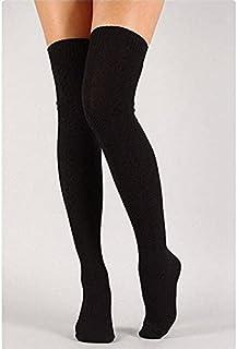 WXQ-XQ Women Over Knee Socks Fashion Female Sexy Stockings Warm Long Boot Knit Thigh-High Gray Khaki Blue Black (Color : B...