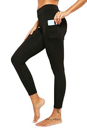 Kneris Mallas Push Up Mujer Leggins Deportivas Yoga Fitness Running Pilates Alta Cintura Transpirables con Bolsillos (z_Negro, Medium)