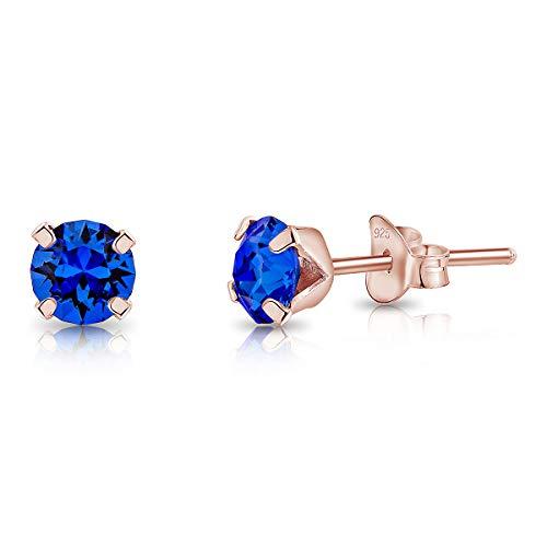 DTPsilver® Semental Pendientes/Aretes de Plata de Ley 925 Chapado en Oro Rosa con Cristal Swarovski® Elements Pequeños Redondo - Diámetro: 5 mm - Color: Zafiro Azul