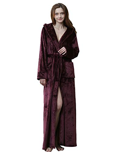 ZAPZEAL HAINE Morgenmantel Damen Super weiche Robe mit Fell gefüttert Kapuze Plüsch Bademantel für Frauen